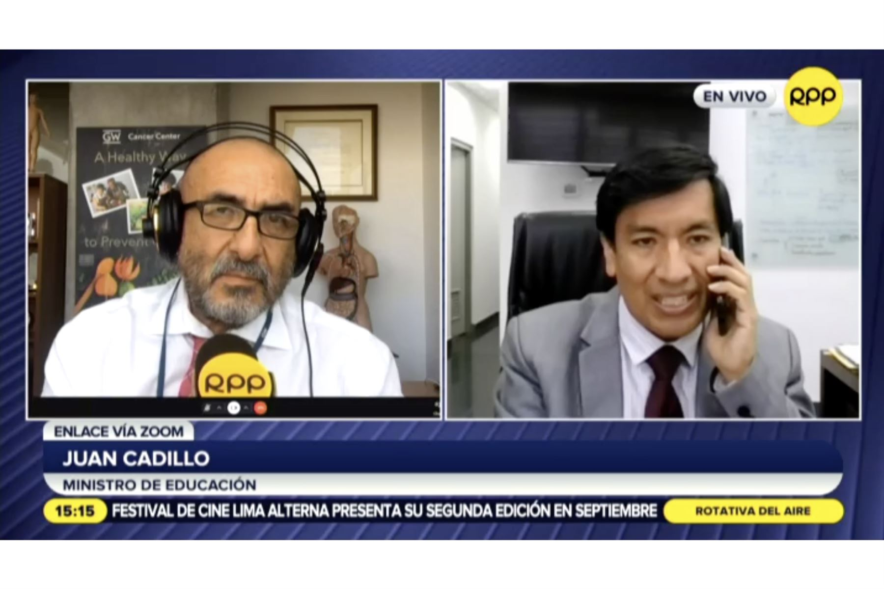 Ministro de Educación, Juan Cadillo, aseguró que su sector hace todo lo posible para que la semipresencialidad sea segura. Foto: ANDINA/captura TV.