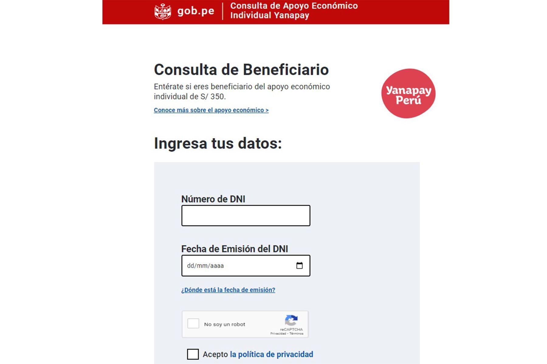 Bono Yanapay Perú: Consulta en este link si eres beneficiario del subsidio