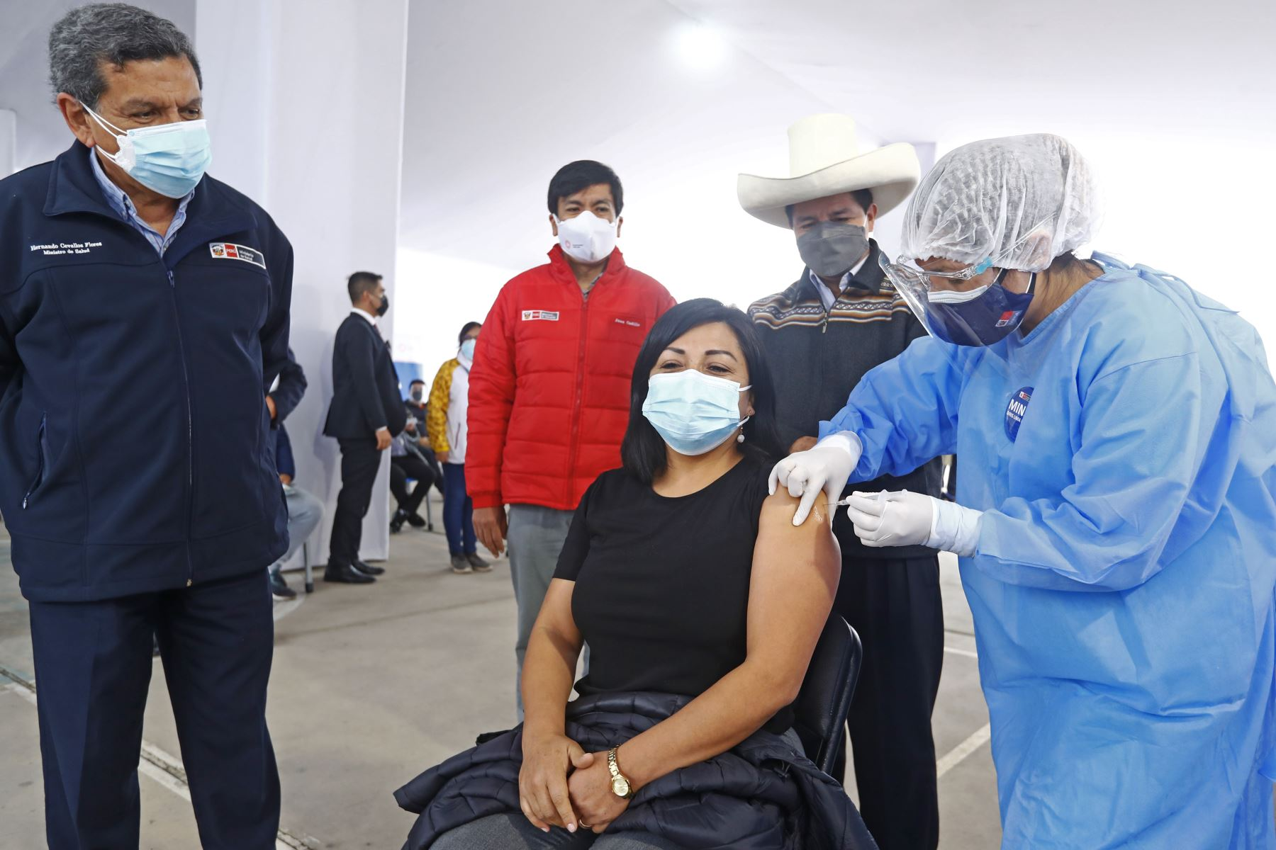El presidente Pedro Castillo participó en la vacunación de profesores urbanos. Foto: ANDINA/Prensa Presidencia