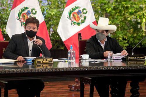 Presidente  Pedro Castillo lidera  sesión del Consejo de Ministros