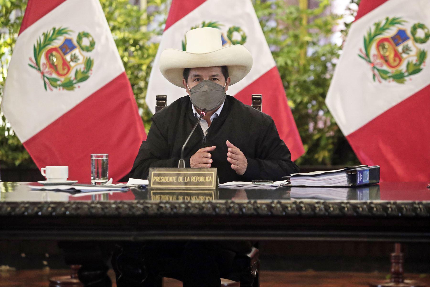 El presidente de la República, Pedro Castillo, lideró la sesión del Consejo de Ministros. Foto: ANDINA/ Prensa Presidencia
