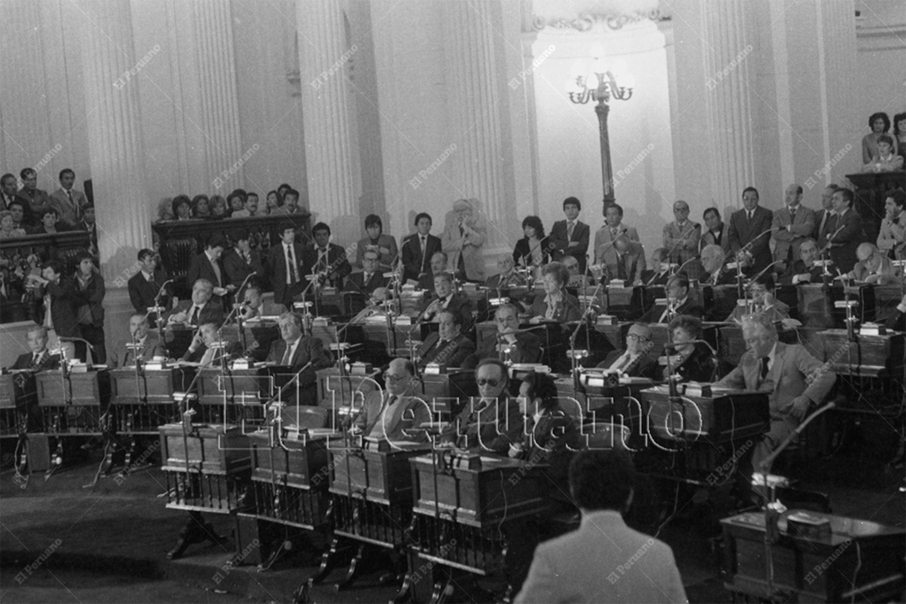 Lima - 12 julio 1985 / Instalación de la Junta Preparatoria de la Cámara de Senadores.  Foto: Archivo Histórico de El Peruano / Bernabé Wong