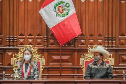 El presidente de la República,  Pedro Castillo participa en la sesión solemne por el 199.° aniversario del Congreso de la República