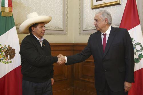 Presidente Pedro Castillo se reunió con su homólogo mexicano Manuel López Obrador