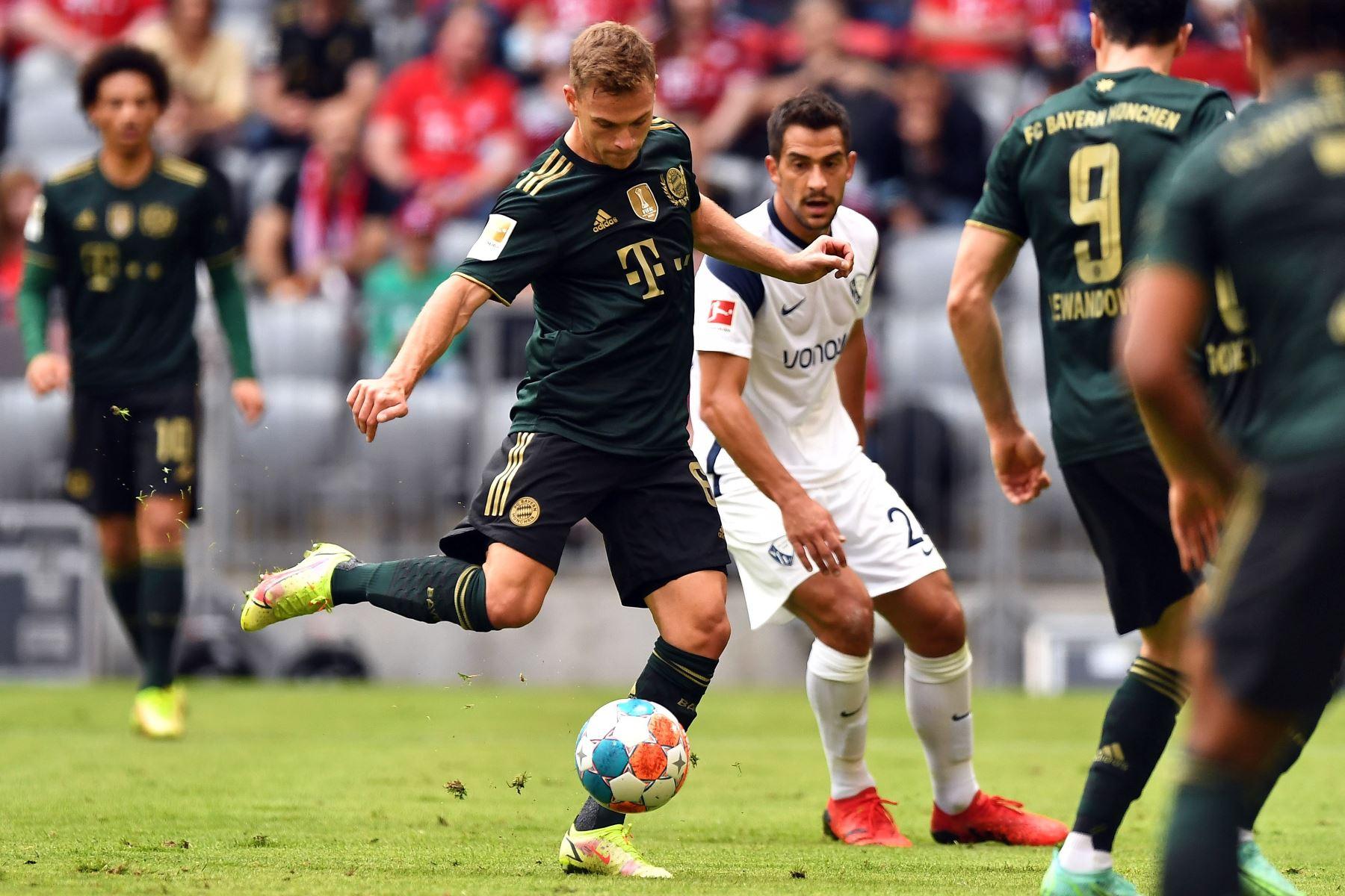 Joshua Kimmich del Bayern Múnich marca el 2-0 en el partido ante el Bochum por la Bundesliga. Foto. EFE