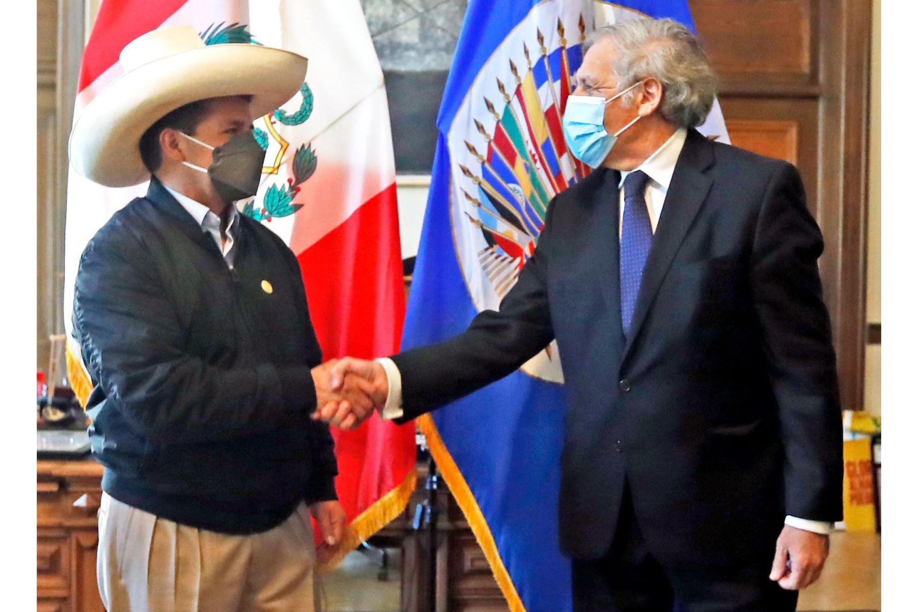 El presidente Pedro Castillo, recibió el saludo protocolar del secretario general de la OEA Luis Almagro. Foto: ANDINA/Prensa Presidencia