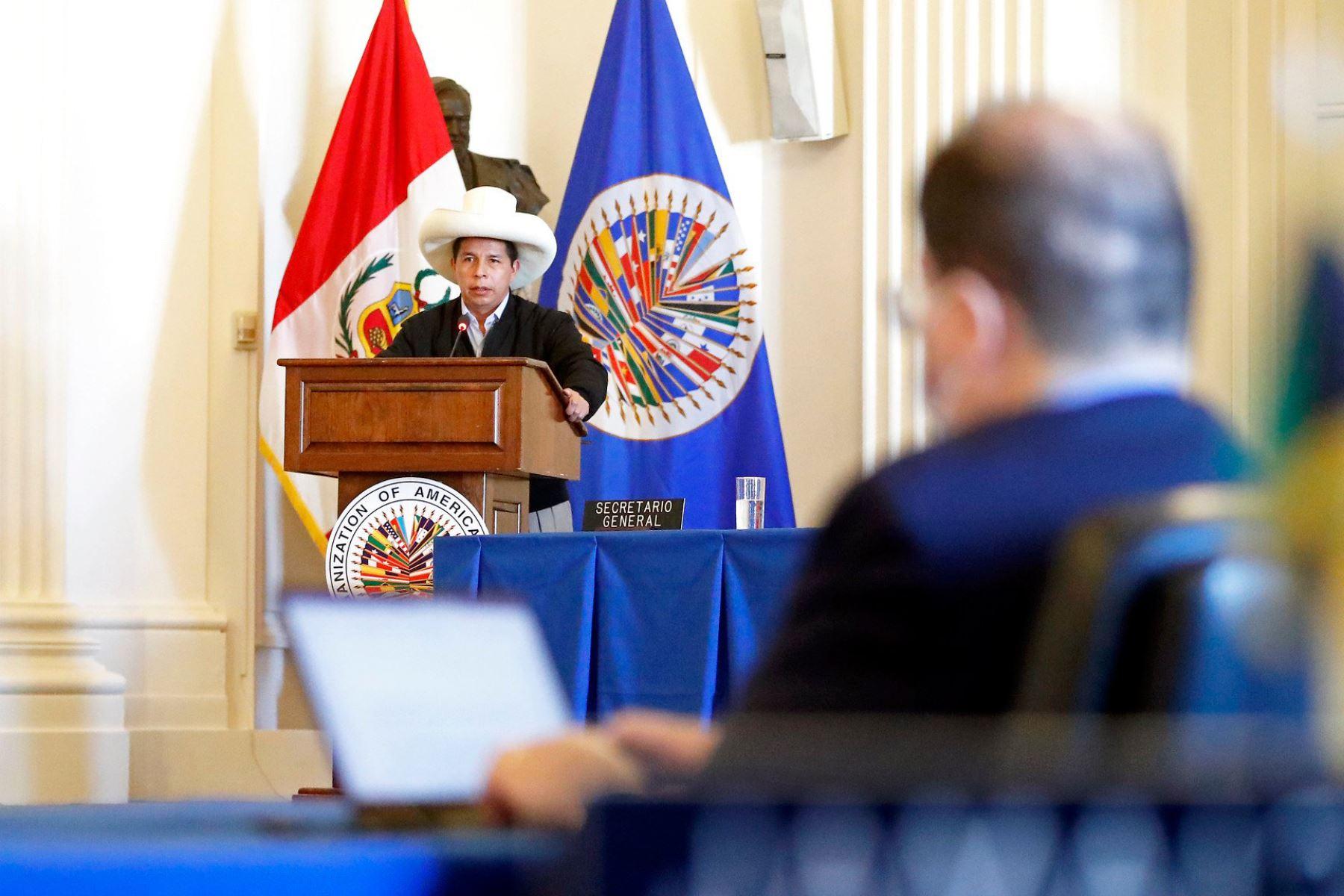 Presidente de la República Pedro Castillo participa en la sesión permanente de la OEA. Foto: ANDINA/ Prensa Presidencia