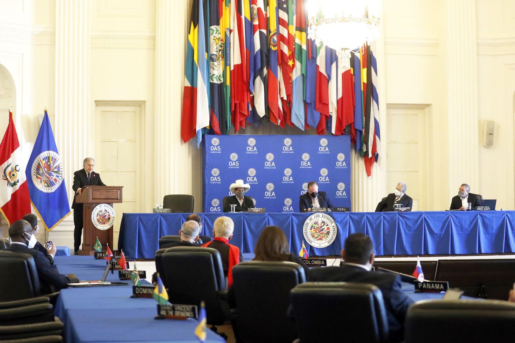 Jefe de Estado, Pedro Castillo, participó de la Sesión del Consejo Permanente de la Organización de Estados Americanos (OEA), en Washigton D.C. Foto: ANDINA/Prensa Presidencia