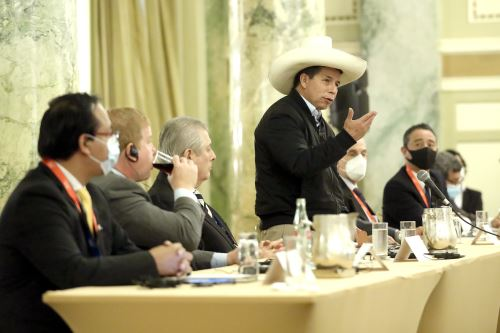 El presidente Pedro Castillo se reúne con empresarios de la Cámara de Comercio de Estados Unidos