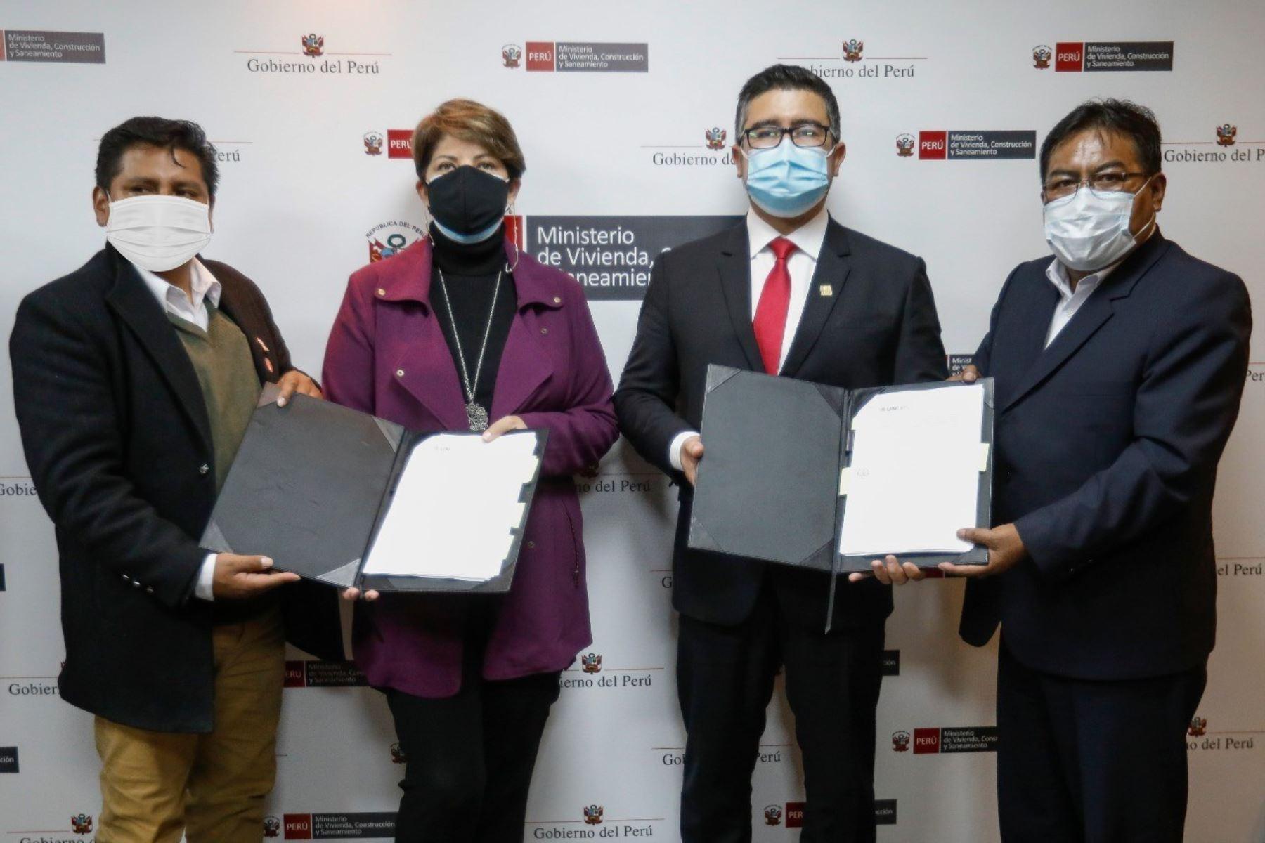 Juliaca: Vivienda y la UNOPS firman convenio para proyecto integral de agua y saneamiento