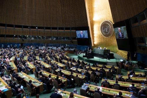Jefes de estado y delegaciones  se reúnen en la 76ª Asamblea General de las Naciones Unidas.