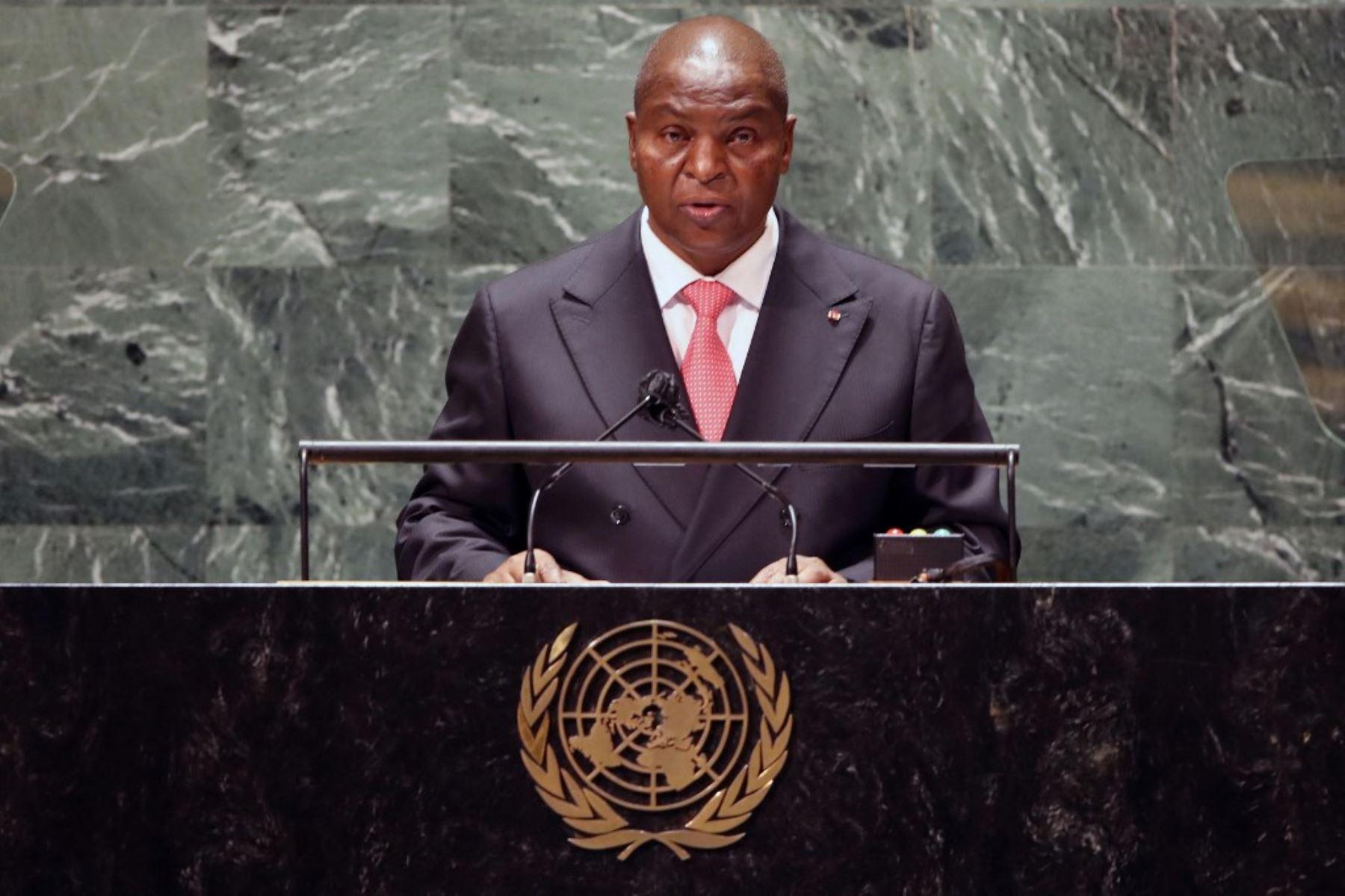 El presidente de la República Centroafricana, Faustin Archange Touadera, se dirige al 76 ° período de sesiones de la Asamblea General de la ONU el 21 de septiembre de 2021 en Nueva York. Foto: AFP