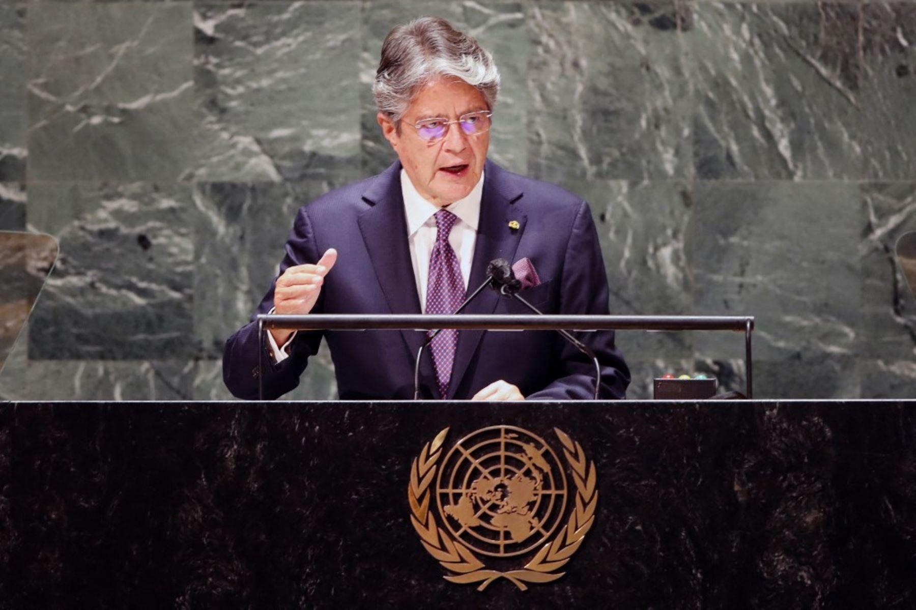 El presidente de Ecuador, Guillermo Lasso, se dirige al 76 ° período de sesiones de la Asamblea General de la ONU (AGNU) el 21 de septiembre de 2021 en Nueva York. Foto: AFP