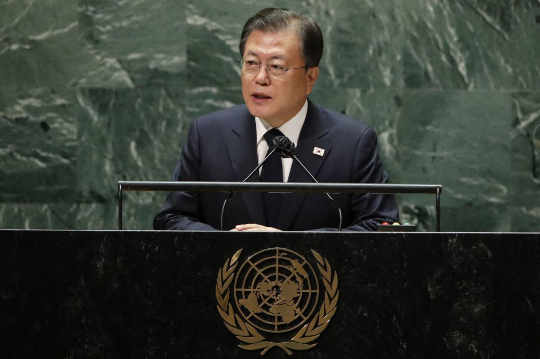 El presidente de Corea del Sur, Moon Jae-in, se dirige al 76 ° período de sesiones de la Asamblea General de la ONU el 21 de septiembre de 2021 en Nueva York. Foto: AFP