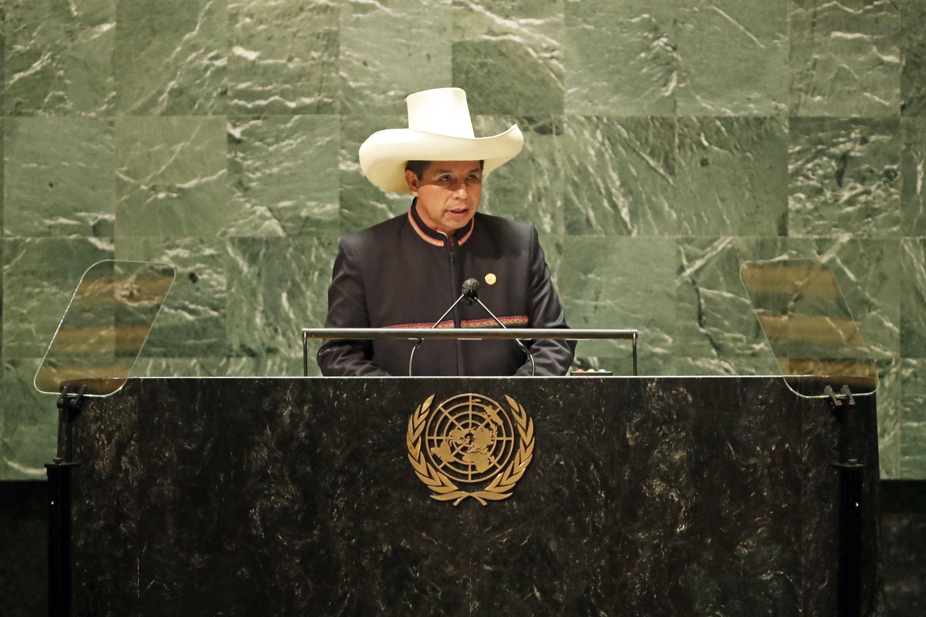 Intervención del Presidente de la República, Pedro Castillo, en la 76 ° Asamblea General de las Naciones Unidas. Foto: ANDINA/Prensa Presidencia
