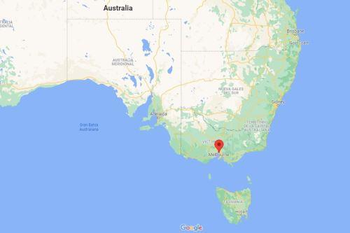 Mapa de ubicación de Melbourne, en Australia. Imagen: Google Maps.