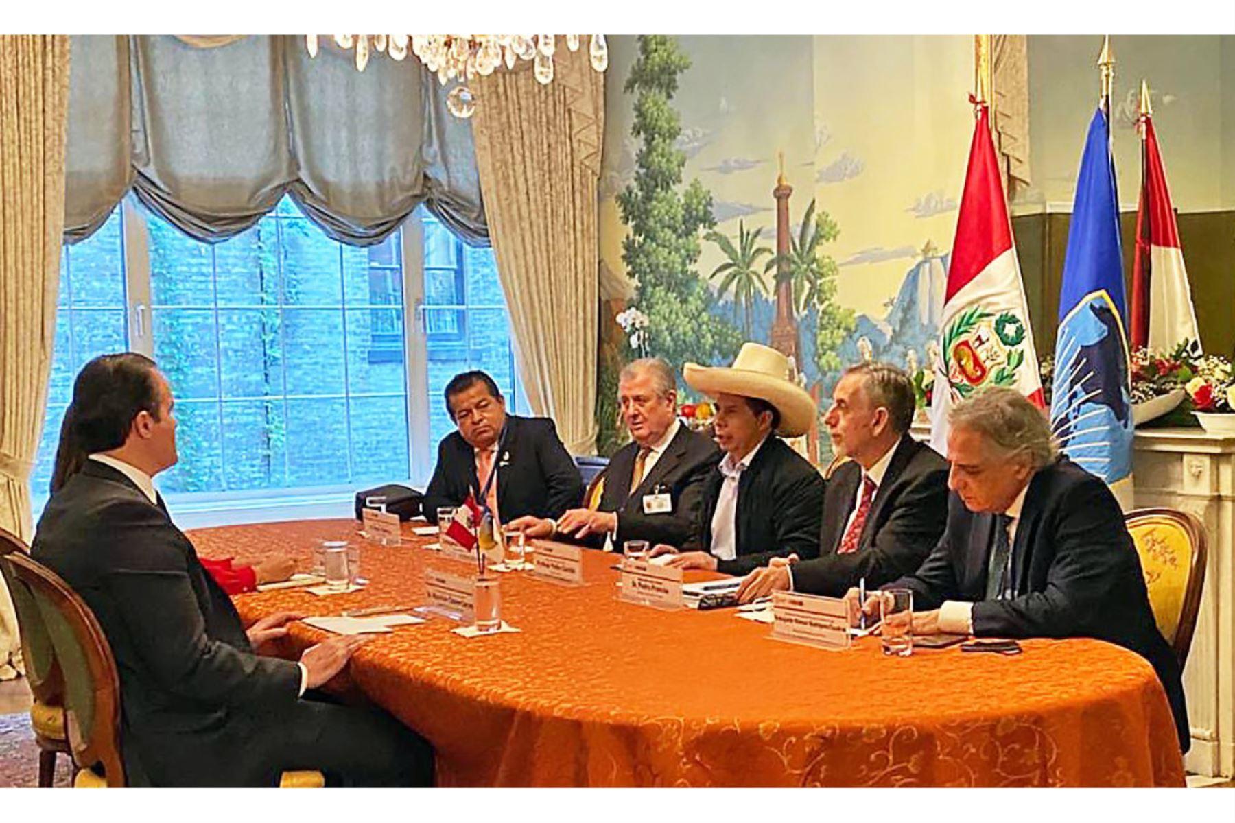 El jefe de Estado, Pedro Castillo, sostuvo una reunión bilateral con el presidente del BID, Mauricio Claver-Carone, donde abordaron el apoyo a la reactivación económica en las regiones, en los sectores de salud, educación, saneamiento y transportes, entre otros. Foto: ANDINA/Prensa Presidencia