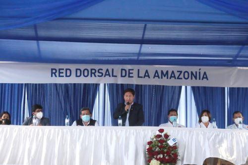El titular de la PCM inauguró proyecto que permitirá que Loreto cuente con internet. ANDINA/Difusión