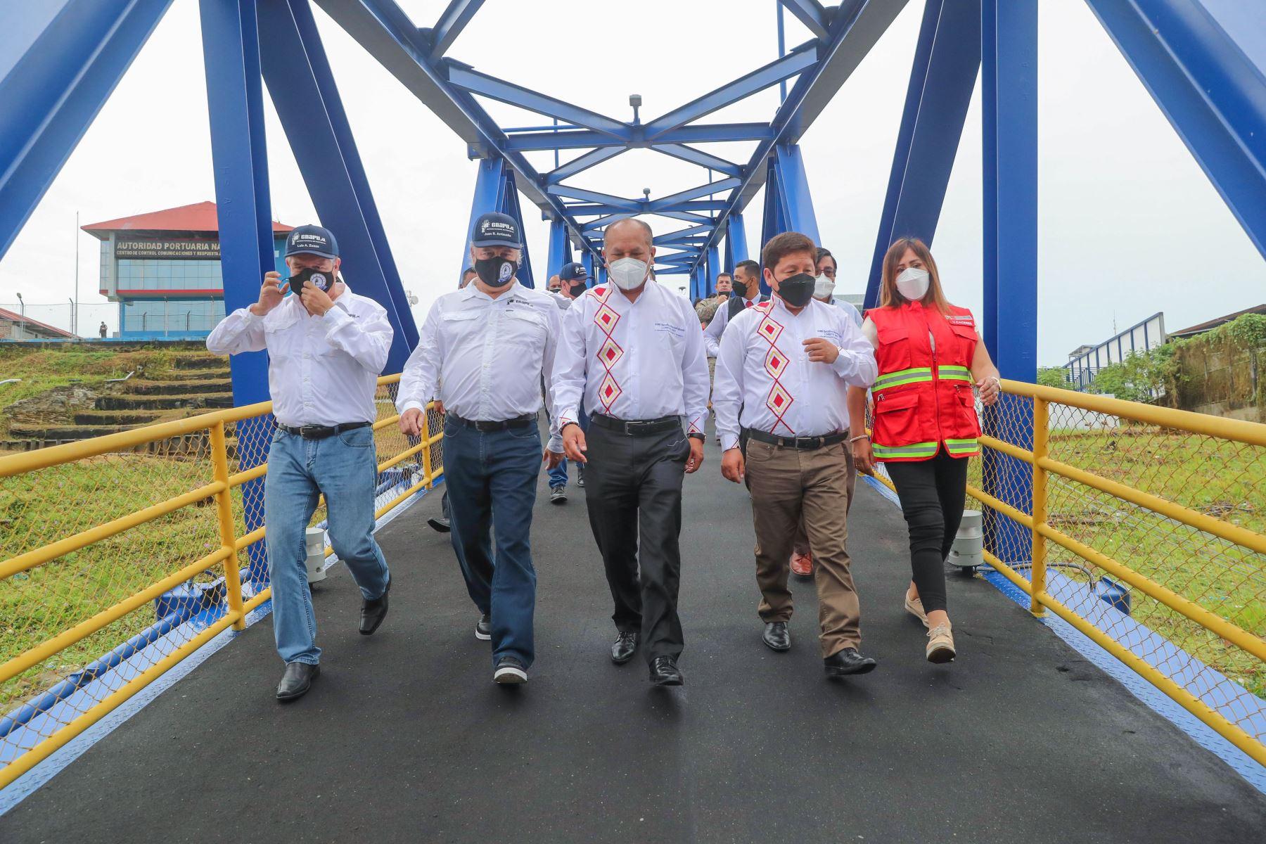Presidente de Consejo de Ministros Guido Bellido y Ministro de Transportes y Comunicaciones, Juan Silva, dio inicio a las operaciones en el nuevo Terminal de pasajeros de Iquitos. Foto: MTC