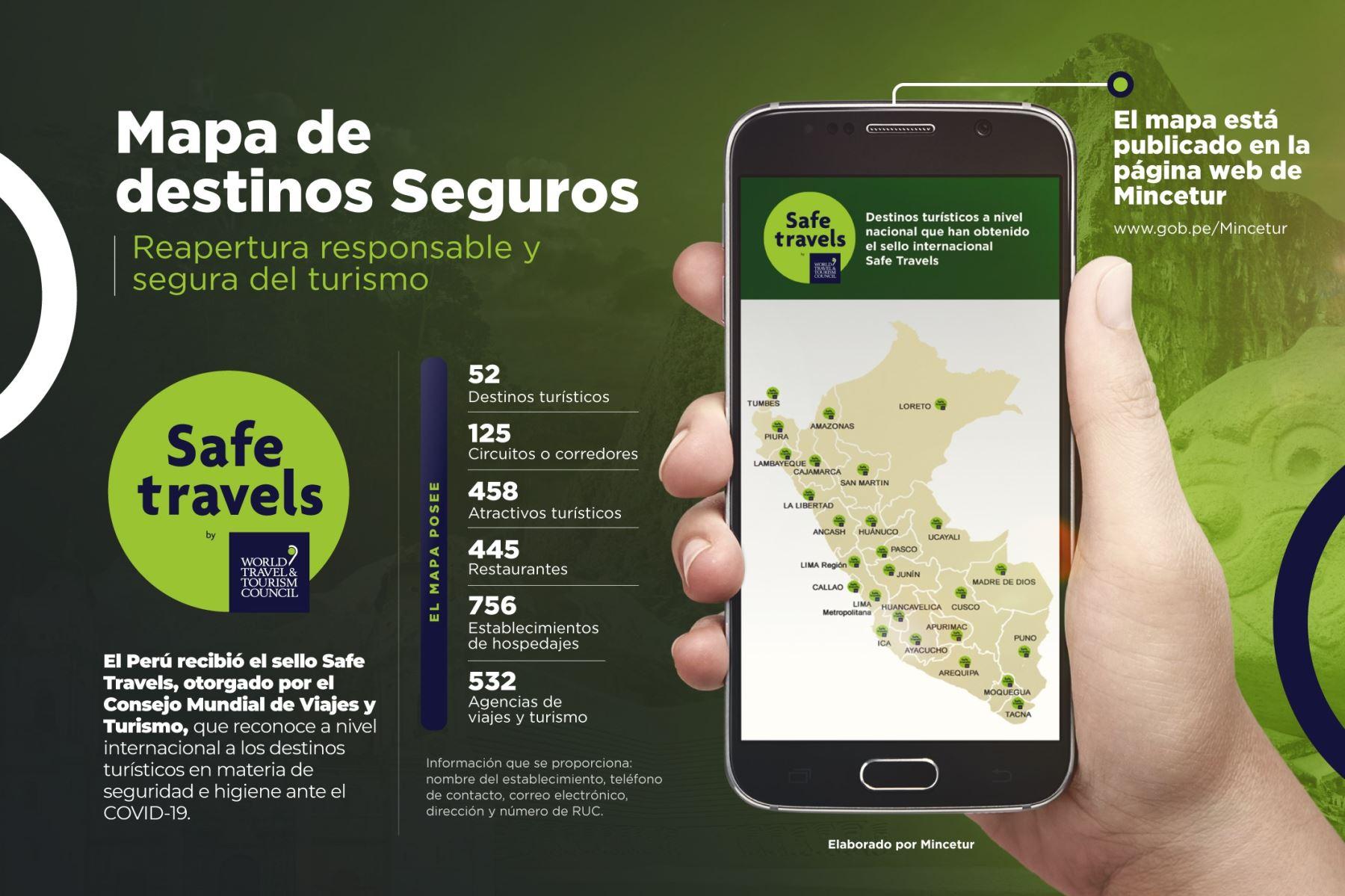 Mincetur presentó un mapa virtual que muestra los destinos, atractivos y establecimientos turísticos de todas las regiones del Perú que cuentan con el sello Safe Travels que los reconoce como destinos seguros ante el covid-19.