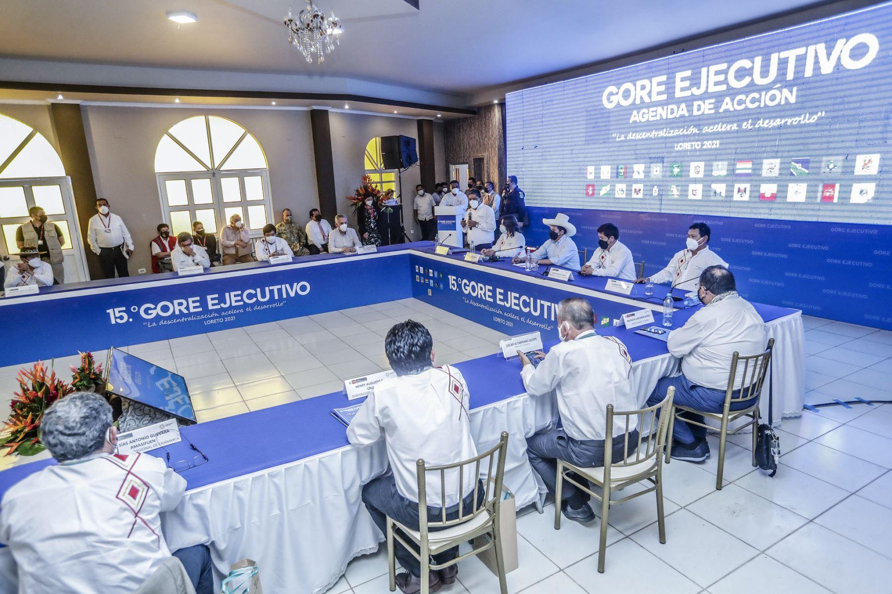 Presiente Pedro Castillo clausura el 15º GORE Ejecutivo en Iquitos. Foto: Presidencia
