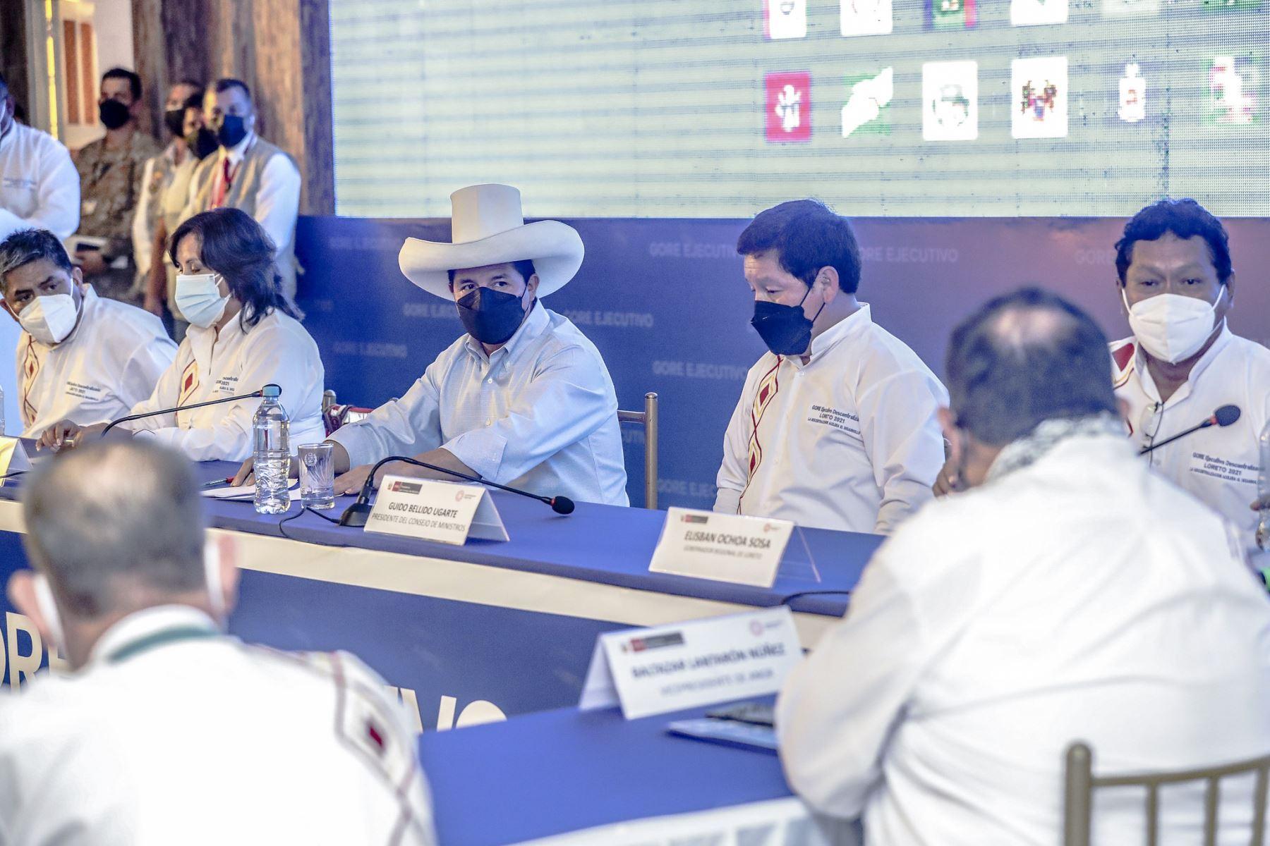 El presidente de la República, Pedro Castillo, clausura el 15º GORE Ejecutivo, en Iquitos. Foto: Presidencia