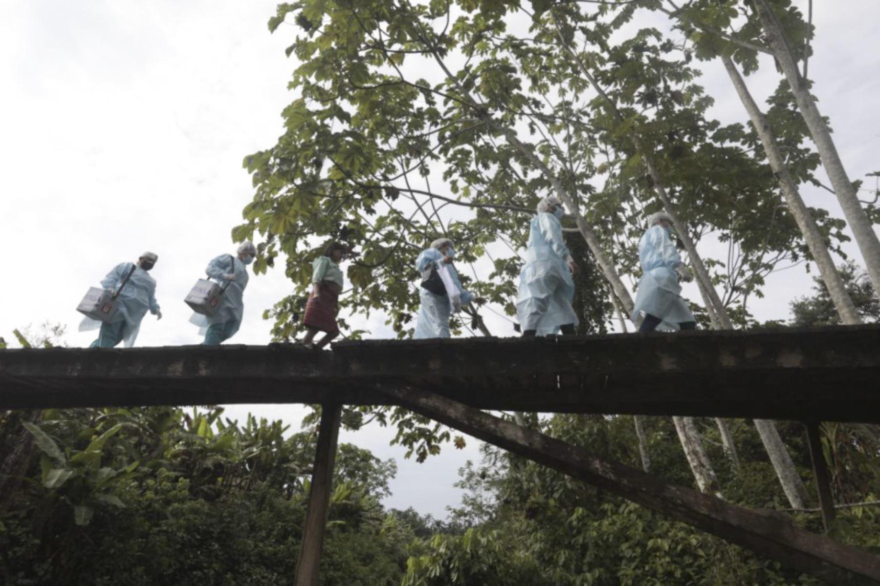 Brigadas de vacunación llegaron a la etnia Shawi, en el Alto Amazonas, para continuar inmunizando contra la covid-19 a la población de las zonas más alejadas del país. Foto: ANDINA/Minsa