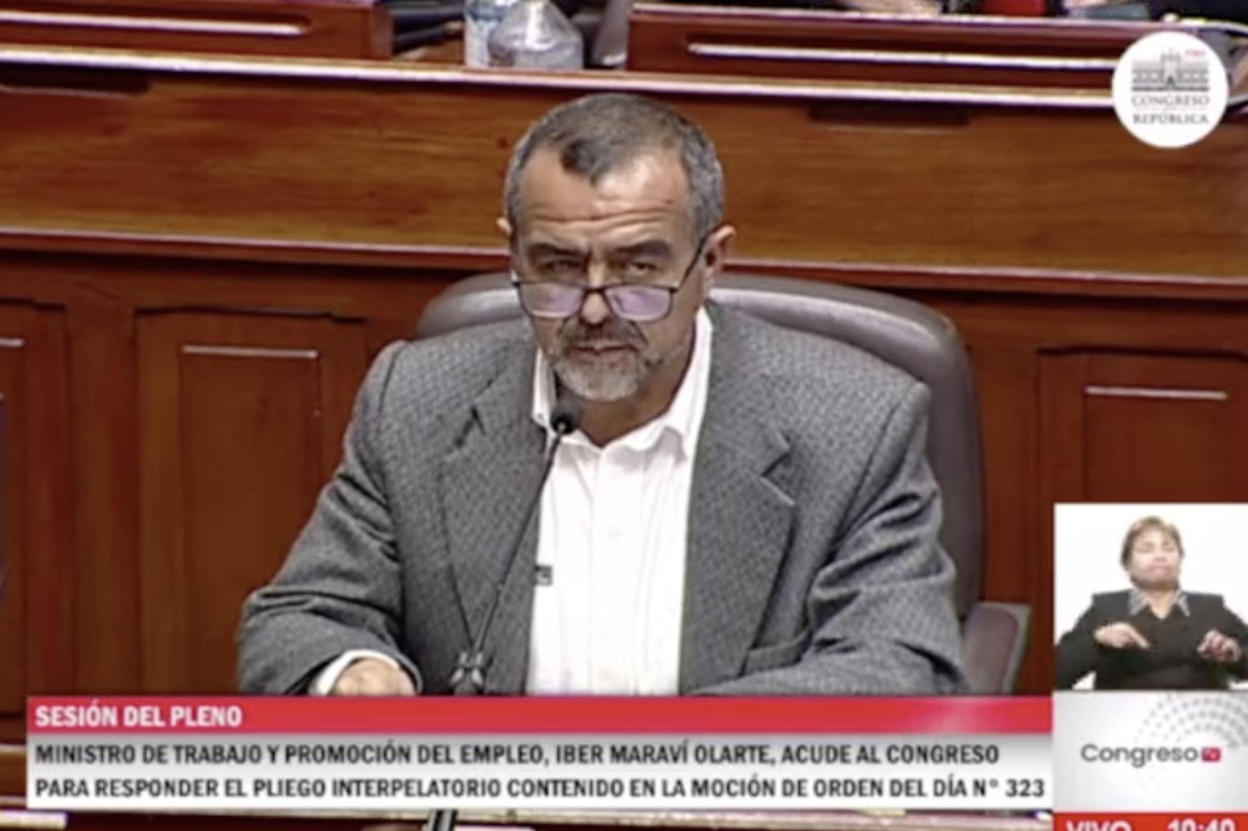 Congreso: Ministro Iber Maraví responde a pliego interpelatorio