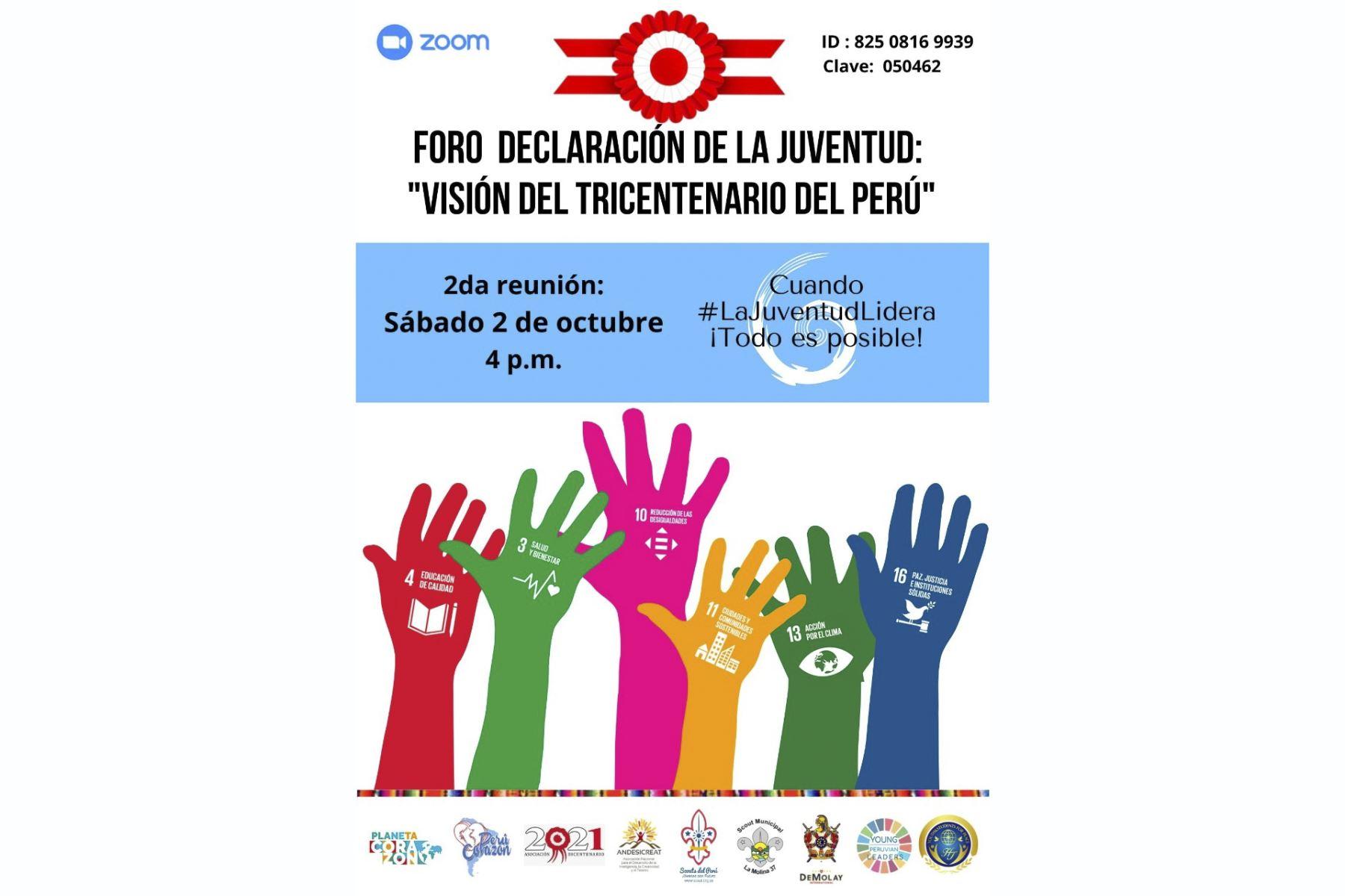 """Organizan foro """"Declaración de la Juventud: """"Visión del Tricentenario del Perú"""""""