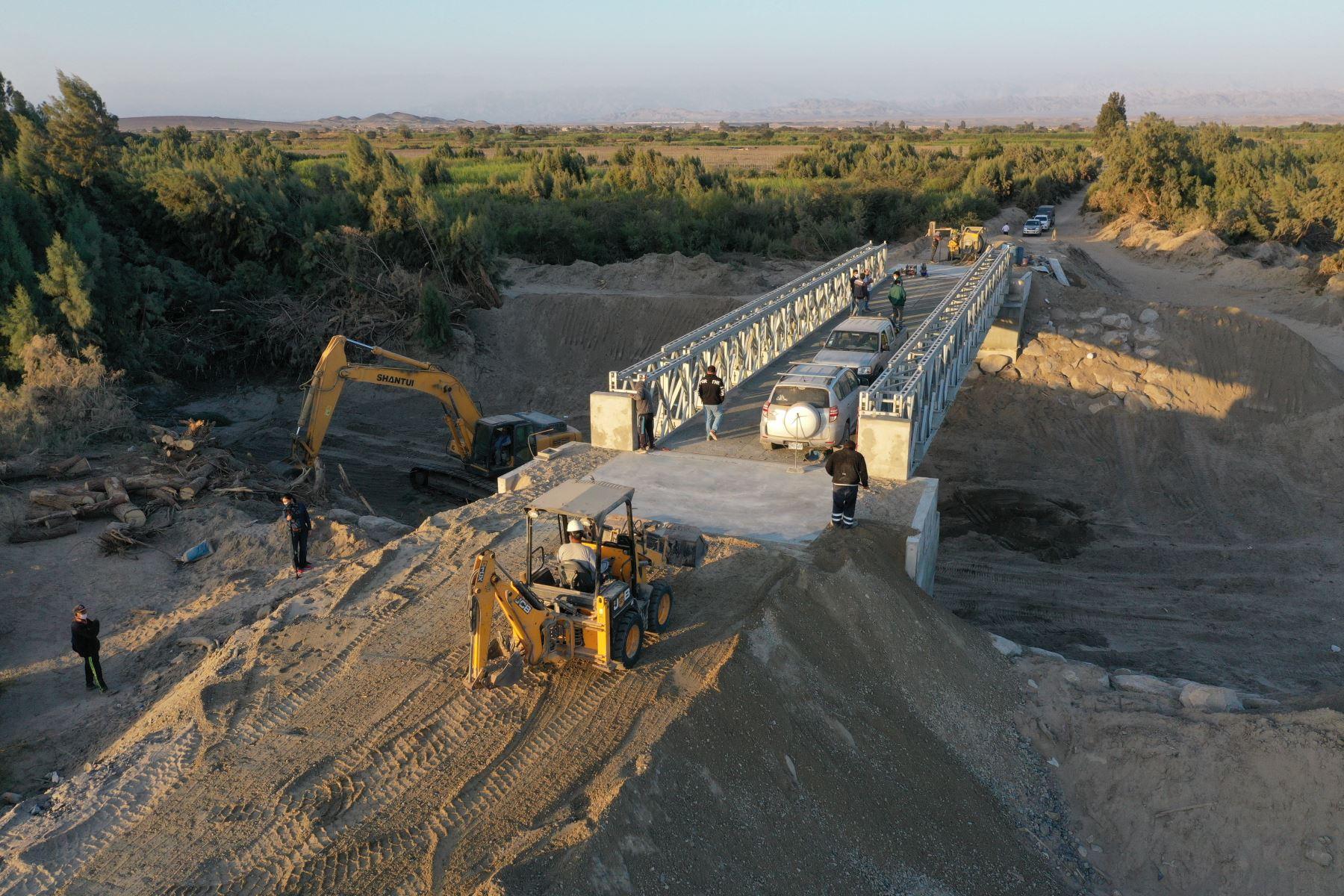Ica: MTC culmina instalación del puente Pinilla en Ocucaje y se benefician agricultores