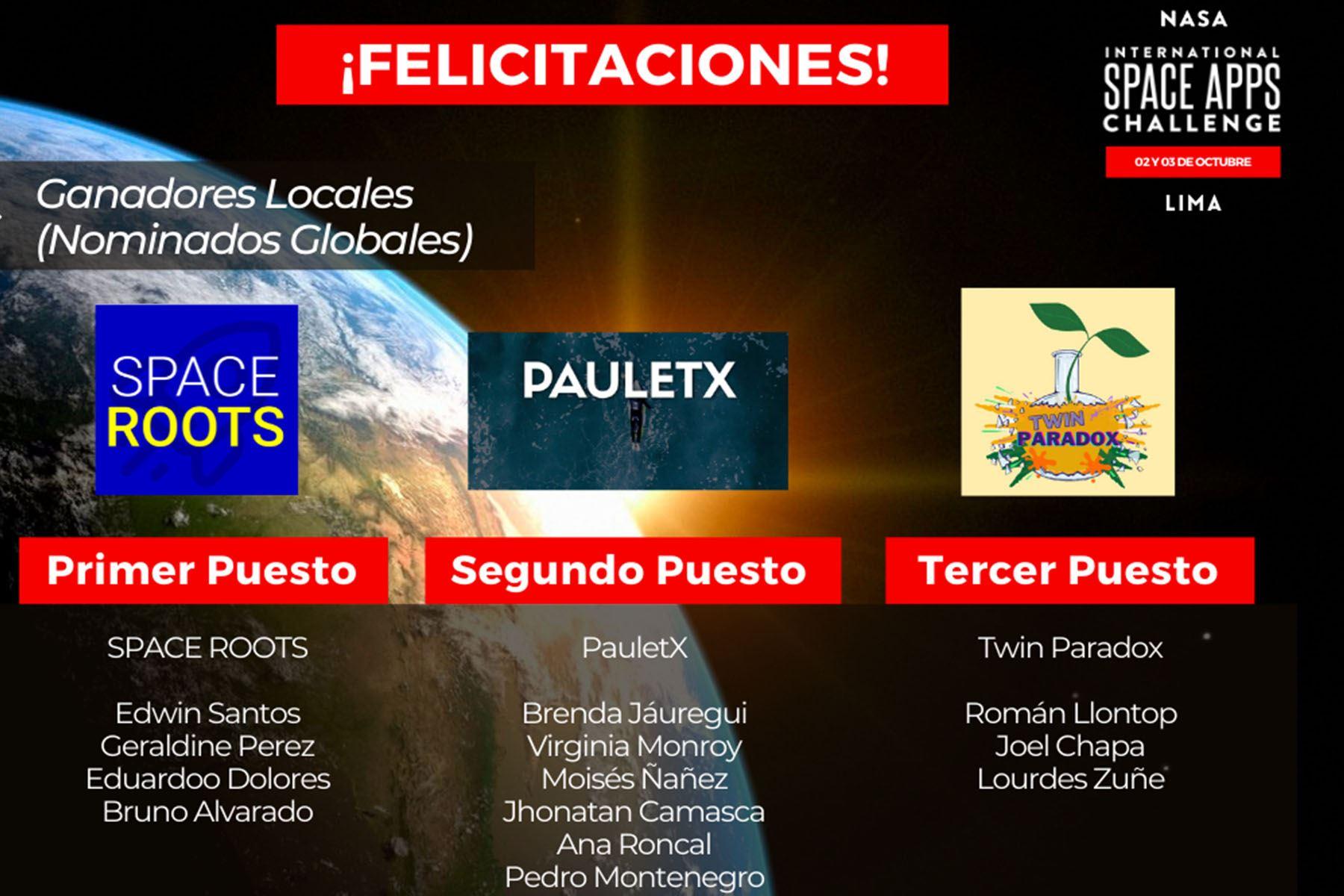 TwinParadox, PauletX y Space Roots representarán al Perú en las etapas internacionales del eventoNASA Space Apps 2021