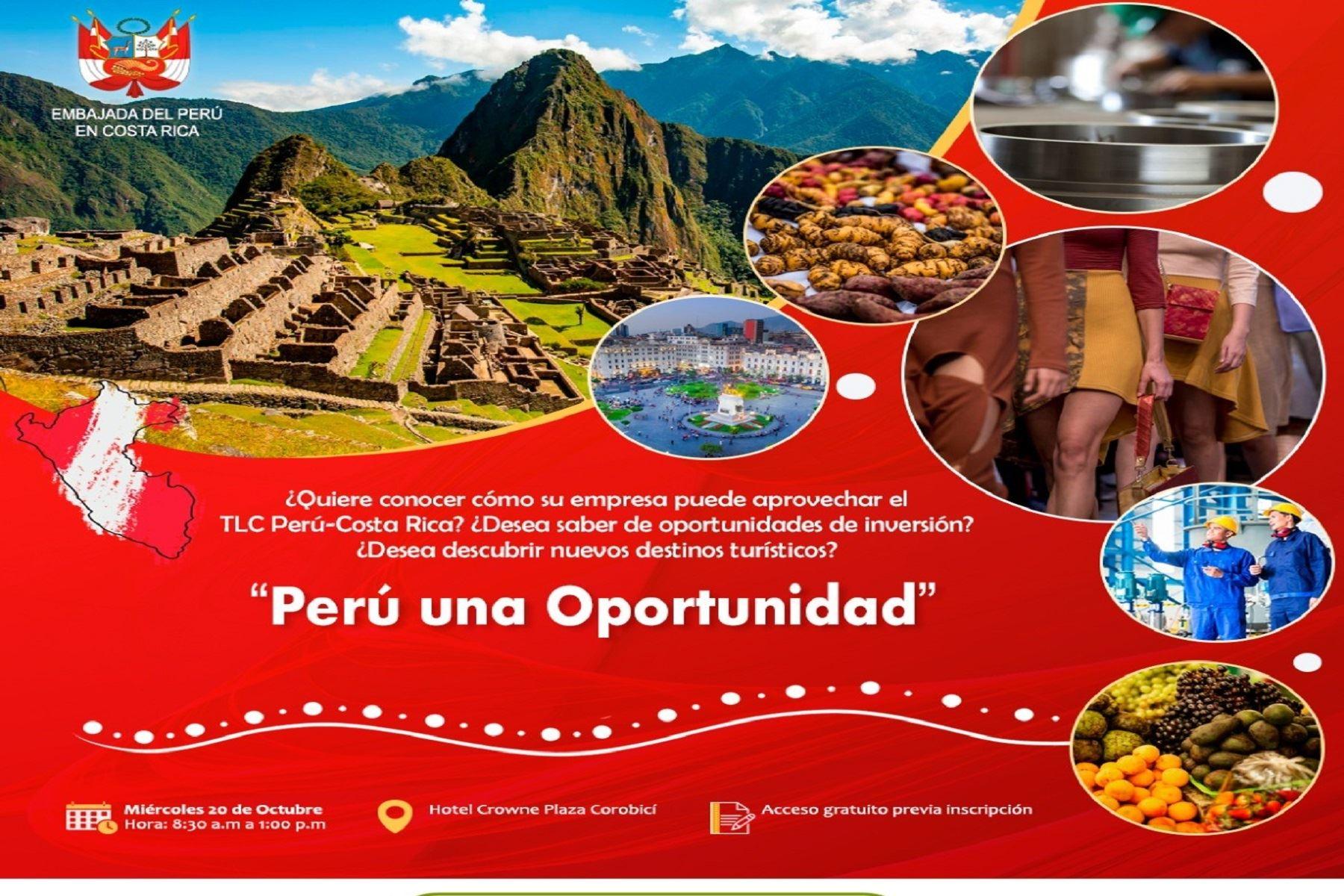 Realizarán evento en Costa Rica para promover comercio e inversiones en Perú