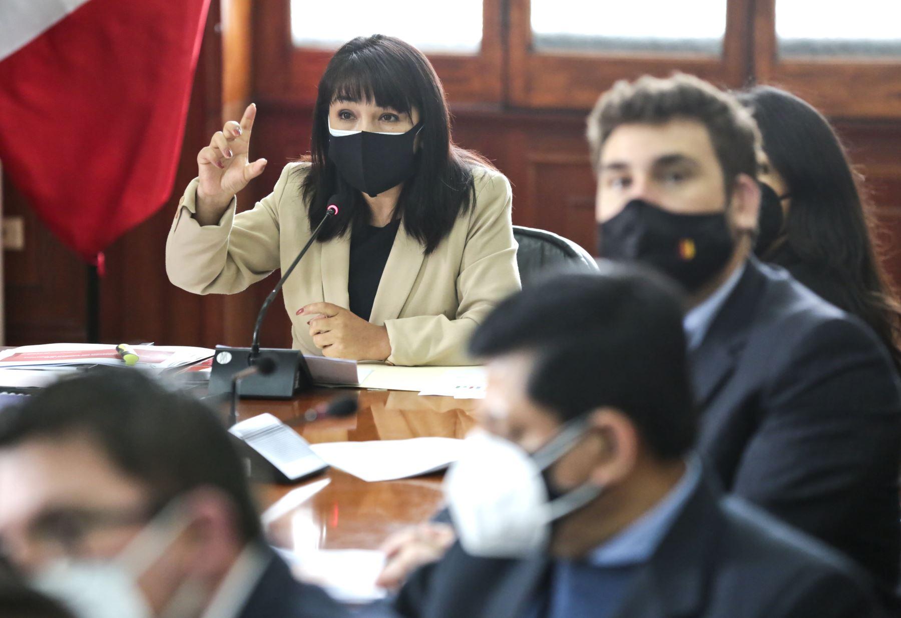 La presidenta del Consejo de Ministros, Mirtha Vásquez, sustenta ante la Comisión de Presupuesto y Cuenta General de la República del Congreso, el presupuesto 2022 de la PCM. Foto: PCM
