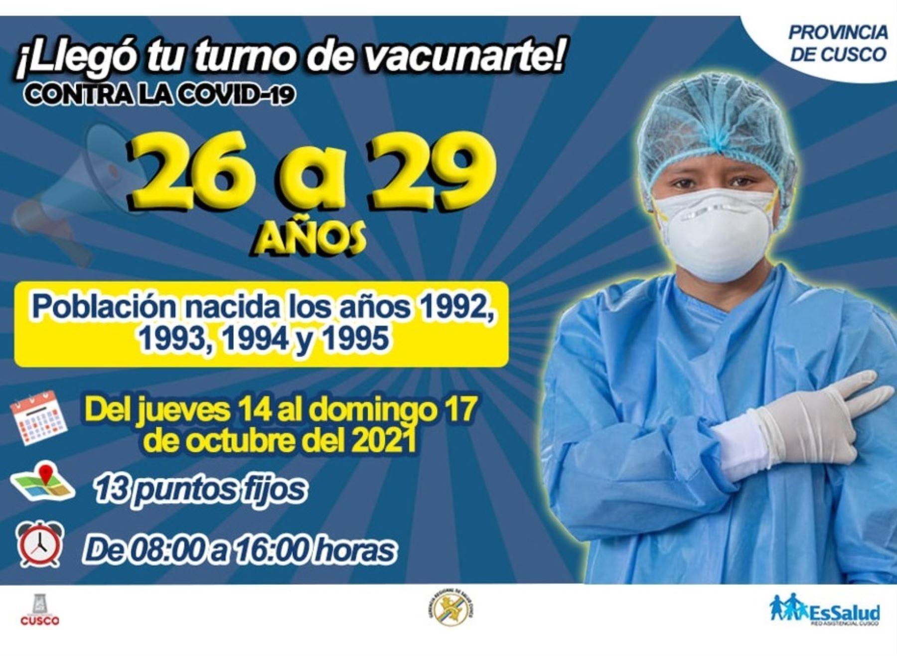 Cusco: hoy se inicia jornada de vacunación contra el covid-19 a jóvenes de 26 años a más
