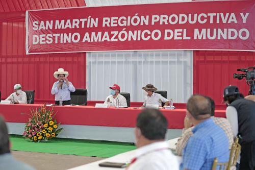 Presidente Pedro Castillo sostiene reunión con autoridades de la región San Martín