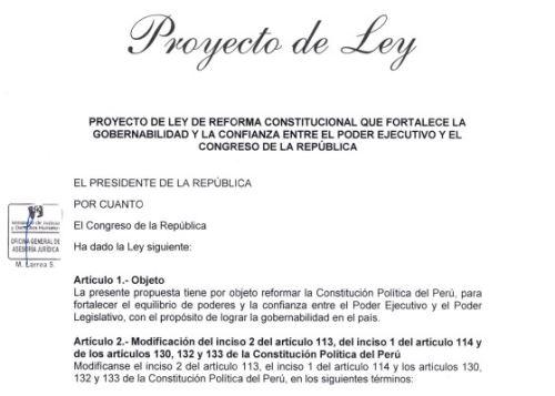 Proyecto de ley de reforma constitucional presentado por el Ejecutivo sobre la cuestión de confianza y vacancia presidencial.