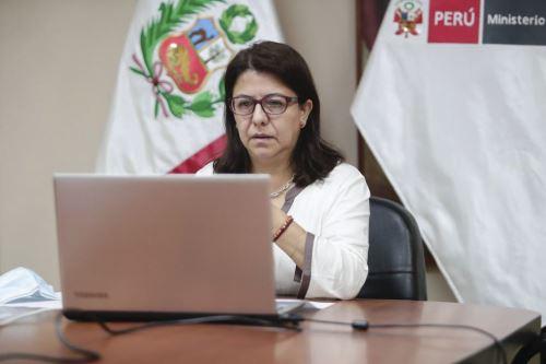 Ministra de Cultura, Gisela Ortiz, participa de manera virtual en la reunión iberoamericana de ministras y ministros de Cultura. ANDINA/Difusión