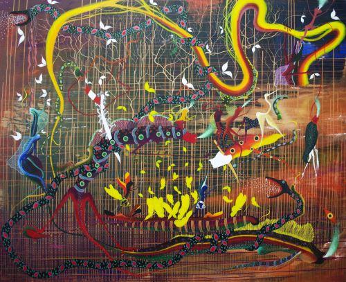 "Presentan exposición ""Rember y Jitoma"" del artista amazónico Rember Yahuarcani."