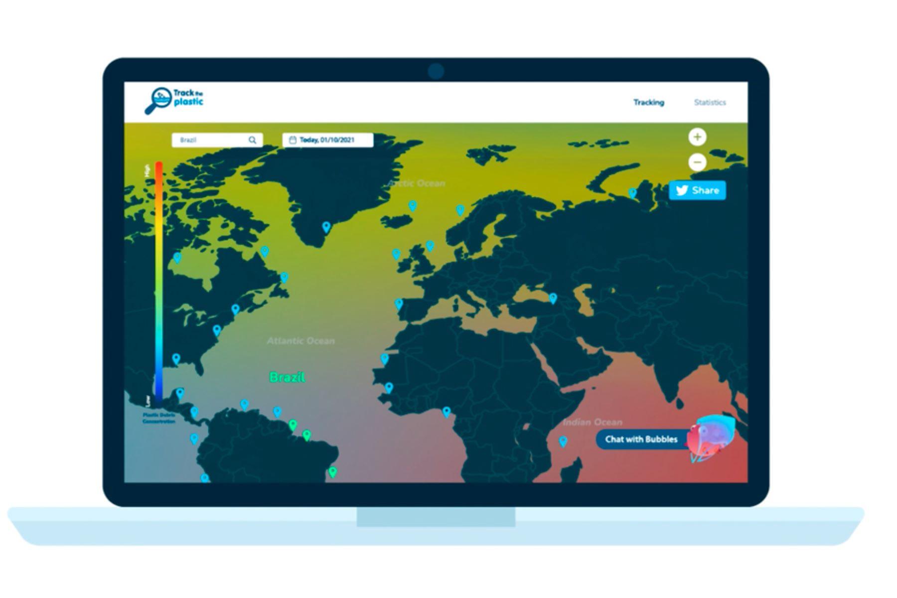 """""""Track the plastic"""" fue planeado en solo 48 horas como parte de la fase local del desafío Space Apps 2021. Foto: Paulet X"""
