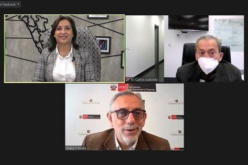 Ministros Dina Boluarte (Midis), Pedro Francke (MEF) y Carlos Gallardo (Educación), en la clausura virtual de la Semana de la Inclusión Social.