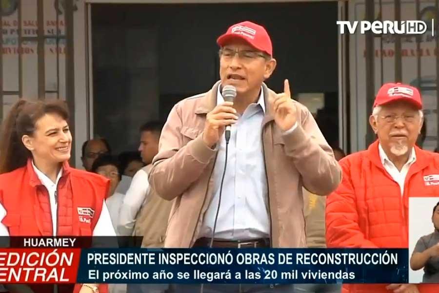 Presidente Vizcarra inspeccionó obras de reconstrucción en Huarmey