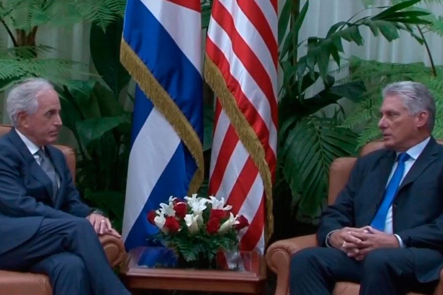 Presidente de Cuba recibió al jefe de RR.EE. del Senado norteamericano