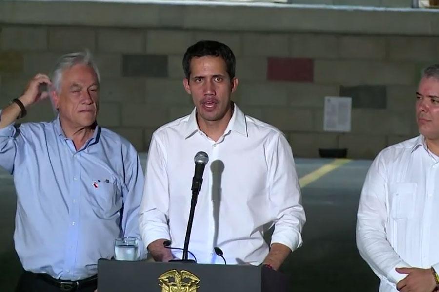 Guaidó llegó a Colombia para coordinar ingreso de ayuda a Venezuela