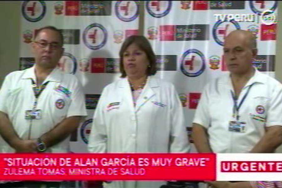 Alan García: Minsa informa que su estado es muy grave