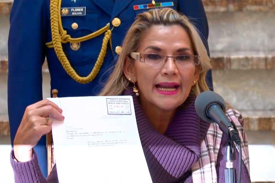 Presidenta de Bolivia pide al Congreso aprobar ley para convocar nuevas elecciones