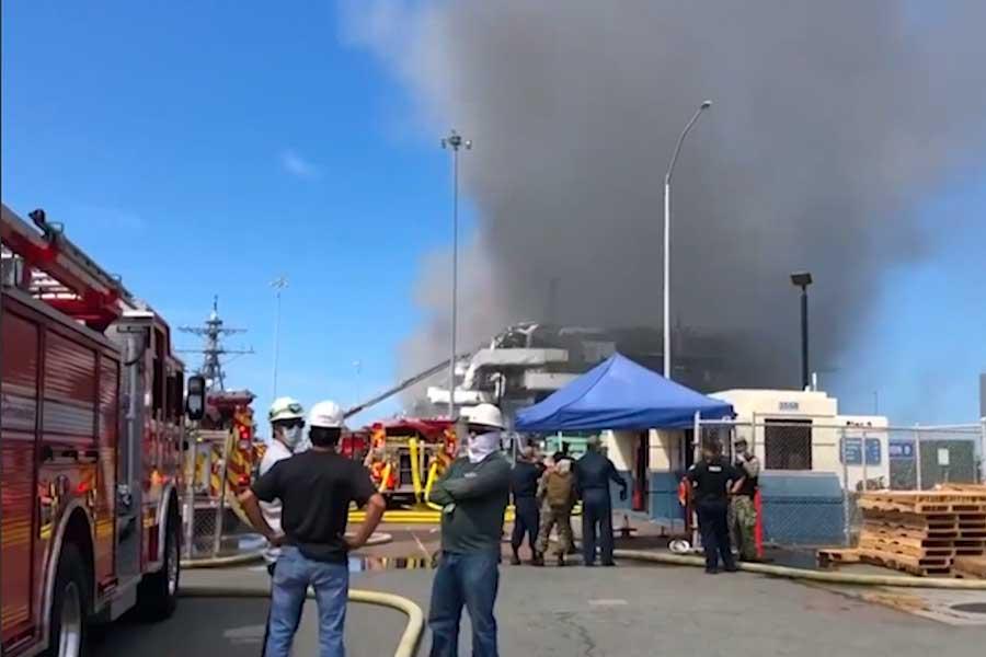 Estados Unidos: alrededor de 20 heridos deja incendio de buque de la Marina