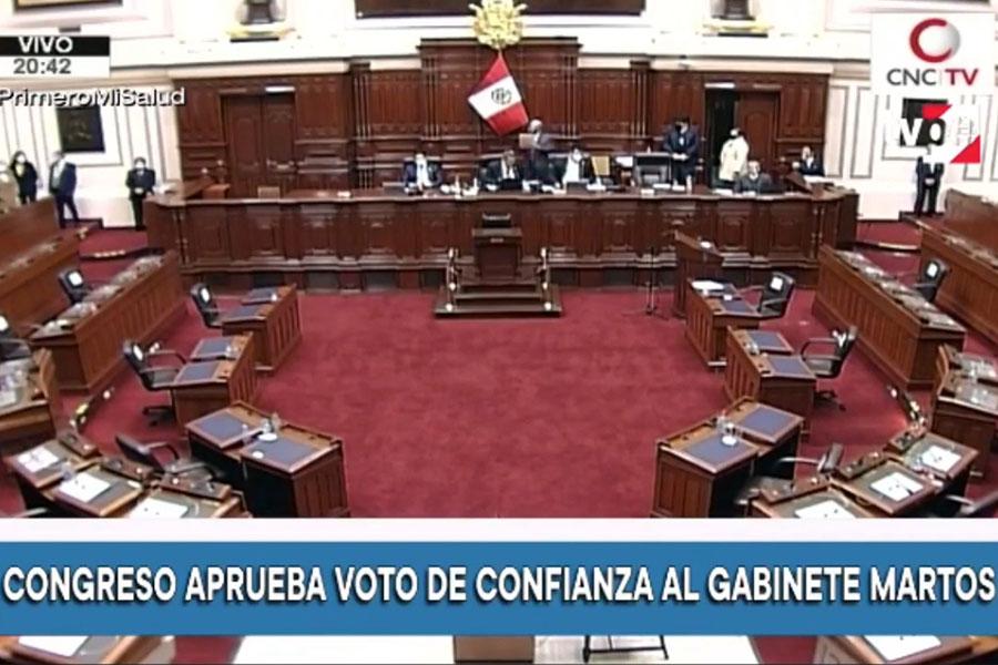 Pleno del Congreso le otorga voto de confianza al Gabinete Martos