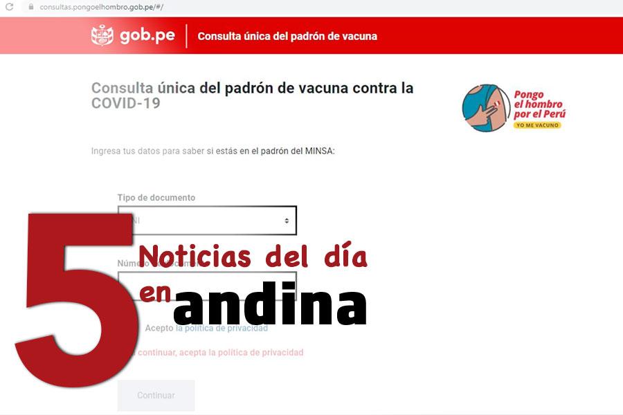 Las 5 del día: en marcha Plan Nacional de Vacunación a novel nacional