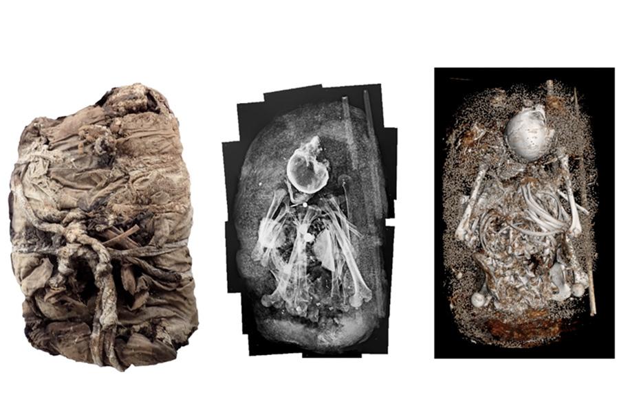 ¡Sorprendente! con tecnología de punta analizan fardos funerarios sin abrirlos