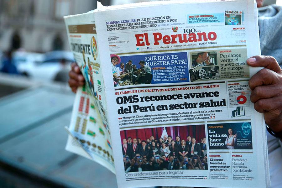 Diario Oficial El Peruano lidera nivel de confianza en la información en Perú
